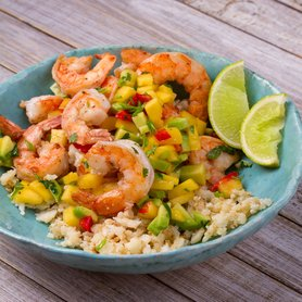 King Prawn and Cauliflower Rice with a Mango & Avocado Salsa